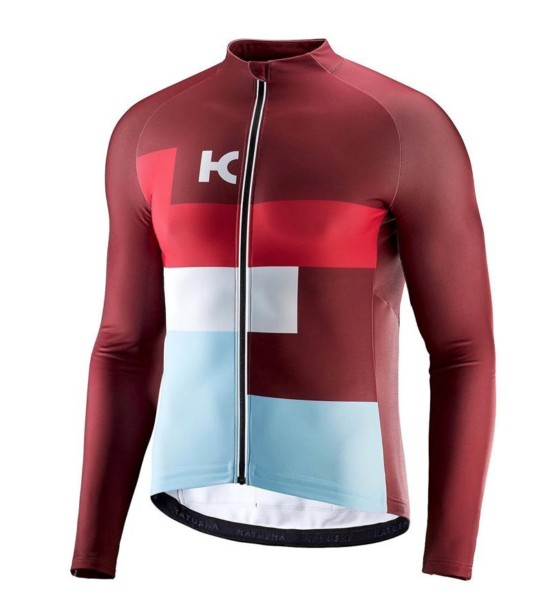 Katusha sport jersey warm longsleeve sangre coral lightblue