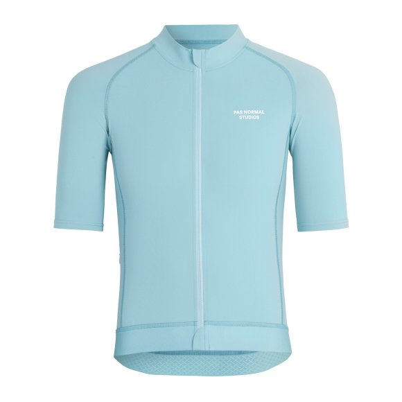 celeste colored cycling jersey in relaxed fit. pas normal studios logo